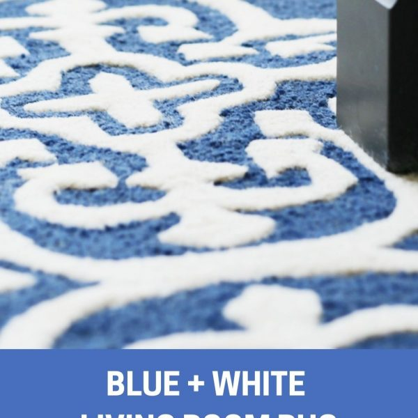 Blue and White Living Room Rug