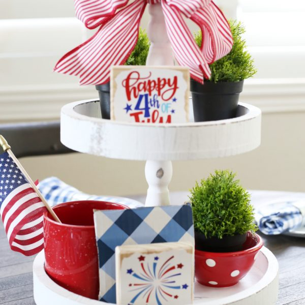 HOW TO CREATE A THRIFTY PATRIOTIC TIERED TRAY